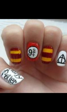 diy easy Harry potter fingernails