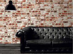 A bare brick effect wallpaper design in red from Muriva's Duplex Wallpaper Collection. Available at Go Wallpaper UK. Brick Effect Wallpaper, Wallpaper Uk, Luxury Wallpaper, Contemporary Wallpaper, Cofee Shop, Little Greene Paint, Brick Cladding, Stunning Wallpapers, Loft