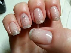 Natural gel nails with silver gradient and shooting star accent