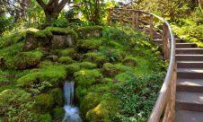 Stairway into Japanese Garden in Butchart Gardens, Victoria, BC, Canada