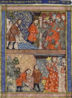 Ryland's Haggadah, 14th c. Spain. Copyright of the University of Manchester. The manuscript is fully digitized and can be viewed at http://enriqueta.man.ac.uk/luna/servlet/s/m01rmw