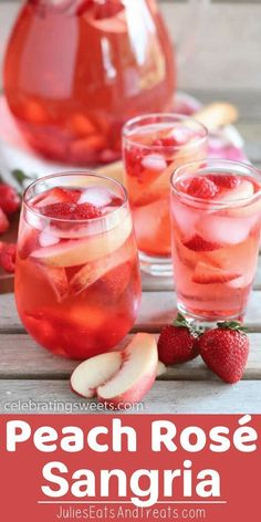 This White Peach Rosé Sangria is a beautiful summer sangria made of Rosé, peach juice, peach liqueur, fresh white peaches, and berries. Try this Peach Sangria this summer! via Julie Evink Sangria Rosé, Peach Sangria Recipes, Rose Sangria, Cocktail Recipes, White Peach Sangria, White Wine Sangria, Simple Sangria Recipe, Sangria Party, Best Sangria Recipe