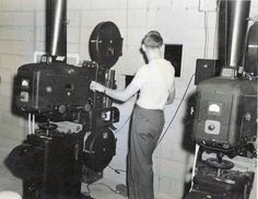 Typical projection booth usually had two or more large projectors that often used carbon arc lamps.