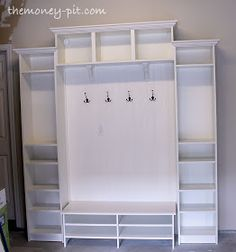 Mudroom built ins made from IKEA billy bookcases and some beadboard (tutorial) Billy Ikea, Ikea Bookcase, Ikea Shelves, Build Shelves, Crate Bookcase, Room Shelves, Ikea Hackers, My New Room, Home Organization
