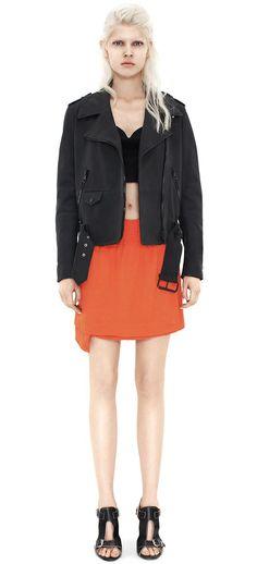 Mape Scuba Black leather jacket by Acne Studios Layered Skirt, Outerwear Women, Winter Wear, Acne Studios, Ready To Wear, Winter Fashion, Mini Skirts, Denim, How To Wear