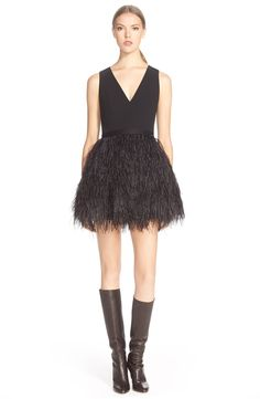 Alice + Olivia 'Kiara' Feather Skirt Fit & Flare Dress