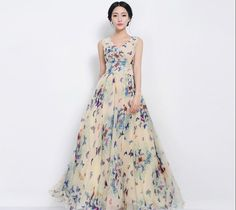 Bohemian Blue Butterfly Floral Aline Maxi Dress by ChineseHut, $169.00