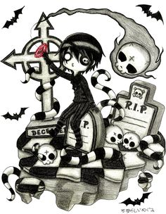 DemiseMAN Commission by Megumi-Kawairashii on DeviantArt Creepy Drawings, Dark Drawings, Creepy Art, Cool Drawings, Emo Pictures, Creepy Pictures, Pictures To Draw, Emo Art, Goth Art