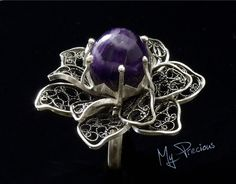 My Precious - Fine silver filigree ring with Amethyst