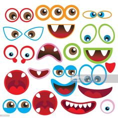 Cute monsters eyes and mouth vector illustration monsterparty Cartoon Eyes, Cartoon Monsters, Cute Monsters, Monster Party, Monster Birthday Parties, Halloween Signs, Halloween Crafts, Monster Decorations, Eye Illustration