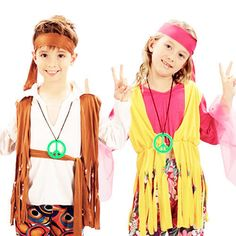 d0540e3d6001 Hippy Kids Boys Or Girls Costume 1960S Hippie 60S 70S Childs Fancy Dress Up  4-