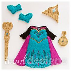 Coronation Dress With Cape Felt Paper Doll Outfit 5x7 These fantasy designs are perfect to accessorize your felt paper doll. The fun memories you had as a child building your paper dolls can now be done with felt! Just attach Velcro to keep clothes on securely, its that easy! DIGITAL DESIGNS - WHAT YOU GET: Crown 5x7 Coronation Dress 5x7 Gloves 5x7 Globe 5x7 Scepter 5x7 Coronation Dress PDF Tutorial Clothes and accessories are made to work with TMWL Designs 4×4 & 5×7 Felt Paper Dolls. ...