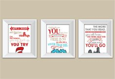 Set of 3 Dr Seuss Set - Today You Are You - Oh The Places You'll Go - Think Left and Think Right - Cute Wall Art. $42.75, via Etsy.