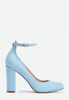 A chic and on trend pump with a faux suede construction and covered block heel with an ankle strap detail....