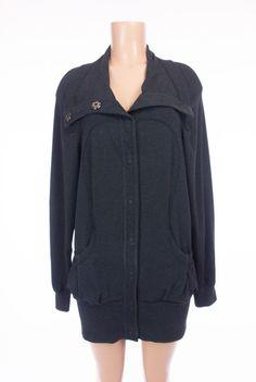 LULULEMON Refresh Snap Up Jacket 8 M Heathered Charcoal Gray Organic Cotton Rare #Lululemon #AthleticJackets