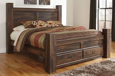 Quinn Dark Brown King Bed with Storage Footboard