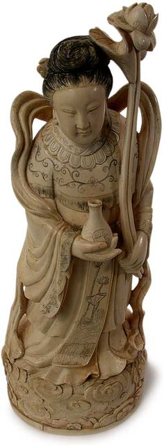 CHINESE IVORY CARVING | large antique chinese ivory carving taoist immortal ho hsien ku circa ...