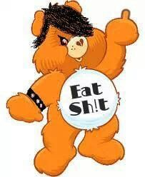 "Manipulated image of a Care Bear, giving the middle finger, wearing a leather studded bracelet and with ""Eat Sh!t"" written on its stomach. Care Bear Tattoos, Stoner Art, Care Bears, After Dark, New Tricks, Gothic Fashion, Cute Wallpapers, Finger, Brother Quotes"