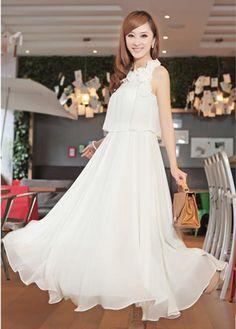 Flower Embellished High Waist Fashion Long Dress