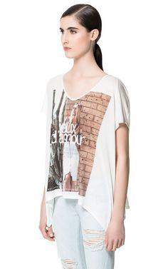 CAMISETA ESTAMPADA - Camisetas - Mujer - ZARA España