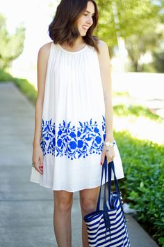 White and Blue Embroidered Dress | Striped Tote - Kacie's Kloset Blog