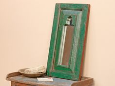 Green Ornate MirrorBuy Green Ornate Mirror Vintage Wooden Mirrors at Scaramanga Ornate Mirror, Mirrors, Wall Candy, Antique Frames, Bedroom Green, Surface Finish, Teak, Door Handles, Antiques