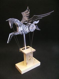 Aluminium Pegasus Automata stamped in blue. by Newsteadautomata  -- hand made motion art