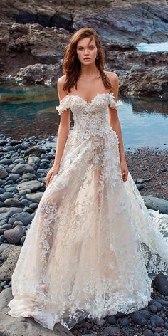 10 Wedding Dress Designers You Want To Know About ❤ wedding dress designers a line floral off the shoulder-with train galia lahav ❤ See more: http://www.weddingforward.com/wedding-dress-designers/ #weddingforward #wedding #bride #weddingdress