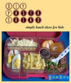 DIY Pasta Salad. Kids love to be in control over ingredients and this type of personal mixing really appeals to a lot of them. This Yumbox lunch contains fusilli pasta, peas with ham, grated gruyere cheese, an egg, a clementine and chocolate for dessert.