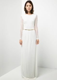 modest white dress with sleeves for purchase | Visit Mode-sty at www.mode-sty.com for stylish modest clothing