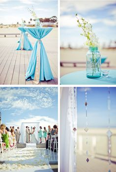perfect beach wedding Table cloth and hanging glass beads Blue Beach Wedding, Blue White Weddings, Seaside Wedding, Gold Wedding, Wedding Planner, Destination Wedding, Wedding Pinterest, Bunt, Real Weddings