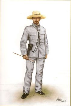Uniforme de rayadillo en Cuba, 1876. Army Uniform, Military Uniforms, The Spanish American War, Brothers In Arms, Rough Riders, Military Modelling, World War One, Napoleonic Wars, Martial