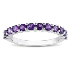 BESTSELLER! Sterling Silver Semi-Precious Gemstone Semi-Eternity Ring $25.99