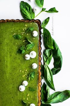 Basil and lemon tart