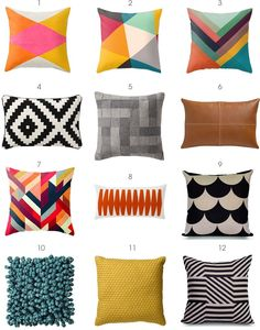 Modern Pillows - some of these are great! I like the scallops and the geometric. Love the colors in pillows 2 & 3.