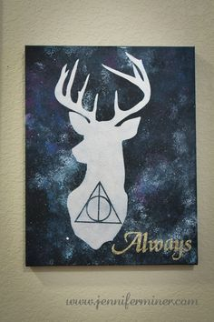 Harry Potter inspired art for our upcoming Harry Party birthday party. Features the Deathly Hallows and Harry's Patronus. Harry Potter inspired art for our upcoming Harry Party birthday party. Features the Deathly Hallows and Harry's Patronus. Harry Potter Sketch, Harry Potter Canvas, Harry Potter Painting, Harry Potter Drawings, Theme Harry Potter, Harry Potter Room, Harry Potter Magie, Birth Art, Desenhos Harry Potter