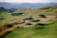 "The unusual ""volcano"" bunkers at The Pete Dye Course at the French Lick Resort, French Lick, Indiana."