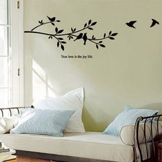 FREE SHIPPING birds and tree wall quote decor  Vinyl wall sticker wall art mural 357 on Etsy, $17.99