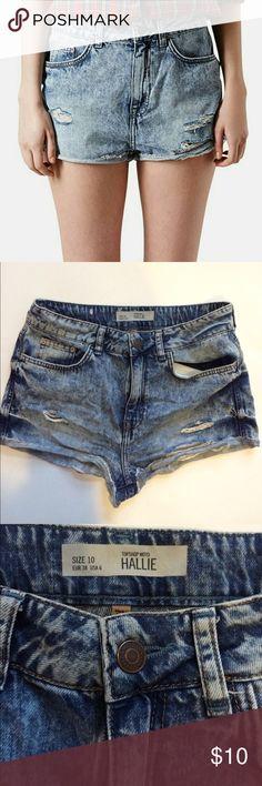 Topshop Hallie high waisted shorts Acid wash high waisted shorts in great condition Topshop Shorts