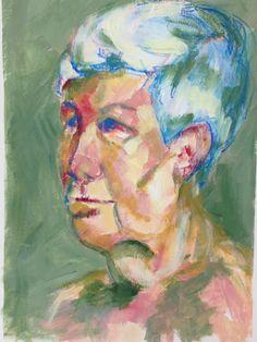 Portrait of woman in acrylic & stabilo pencil on carton by Mary-Jean Dudok de Wit.