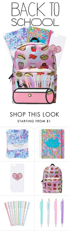 """""""back to school supplies"""" by pointlesszalfiestyle ❤ liked on Polyvore featuring interior, interiors, interior design, home, home decor, interior decorating, Nikki Strange, Lilly Pulitzer, Topshop and BackToSchool"""