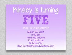 Purple Lavender Birthday Invitation  5th by TheTrendyButterfly