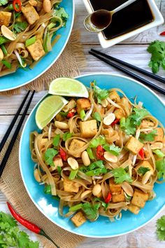 Vegan pad thai is deliciously sweet, sour, savory, spicy and refreshing at the same time. Fried tofu and peanuts add extra protein and crunch. Make your own pad thai sauce to be sure it's totally vegan friendly. Vegan Recipes Videos, Vegan Dinner Recipes, Vegan Recipes Easy, Veggie Recipes, Indian Food Recipes, Asian Recipes, Vegetarian Recipes, Ethnic Recipes, Vegetarian