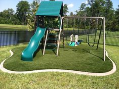 backyard playsets Kids Traditional with artificial concrete curb curbing foam grass lawn Padding playset slide swing synthetic