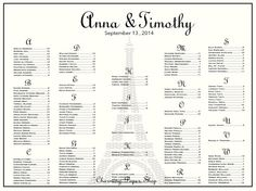 French Wedding Seating Chart Wedding Seating by CharmingPaperShop