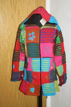 NEU warme Patchwork Jacke Mantel mit Fleece Gr. L /Hippie / Nepal