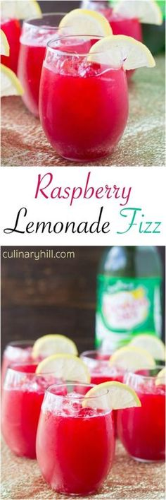 This Raspberry Lemonade Fizz recipe is the ultimate fruity drink for entertaining, especially at the holidays! by tamara