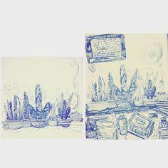 #art #plants #doodle #raw #summerblues #ink #blue #drawing #illustration #design #outsiderart