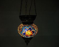 Blue yellow orange moroccan lantern mosaic hanging lamp glass chandelier light turkish candle holder h 45 handmade_antiques http://www.amazon.com/dp/B01EFAKNDY/ref=cm_sw_r_pi_dp_M2jfxb0W06MSB