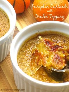 Pumpkin Custards with Brulee Topping by Dreena Burton #vegan #glutenfree
